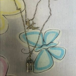 Layered bird and cage necklace